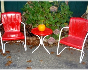 Vintage lawn chairs 1950s metal folding chairs by 86home on etsy - Unavailable Listing On Etsy