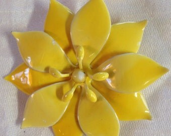 10% OFF SALE Vintage Bright yellow Flower Pin/Brooch
