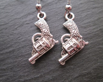 Petite Silver Revolver Gun Earrings
