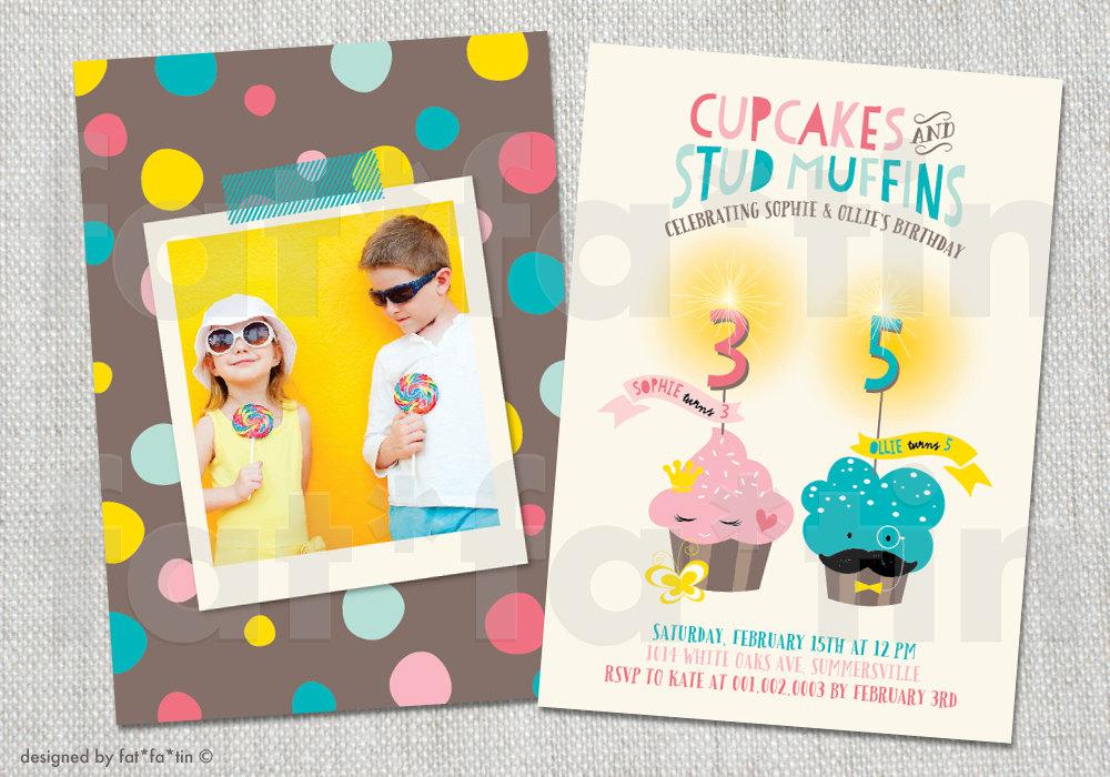 sibling invitation  etsy, Birthday invitations