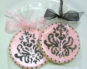 Custom Decorated Gourmet Elegant Damask Sugar Cookie Favors Wedding Cookie Bridal Shower Cookie Bachelorette Cookie Elegant Chic Butterfly