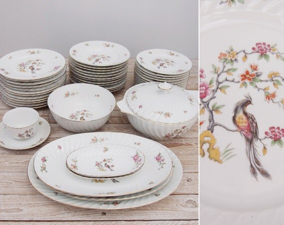 1950s dinnerware set bird white porcelain mid century dinnerware set