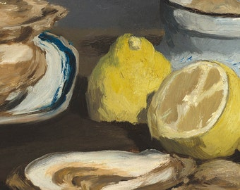 Oil Painting of Oysters, 19th Century French Art Print