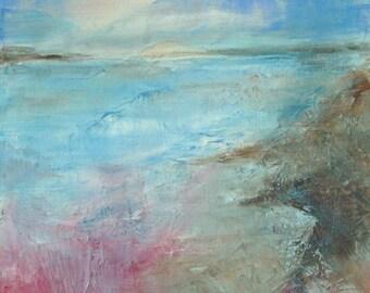 Original Seascape Landscape Painting, 40cm x 40cm x 4cm