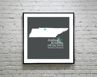 Tennessee Wedding Gift Custom State Map Personalized Couple Art Personalized Tennessee Map State Map Art Personalized