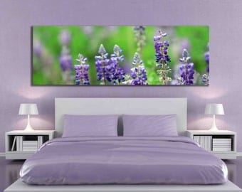 Purple blue bonnets flower panoramic large canvas print nature home decor macro photography fine art print rectangle long wall decor green