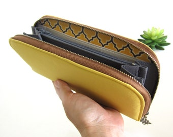 VEGAN WALLET, Womens Wallet on solid mustard yellow, Classic pattern. Women's Wallet Clutch, Wallets for your goodies Safety and Be You.!!
