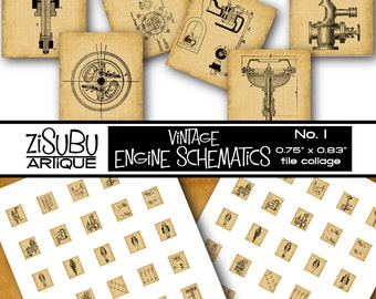 Printable Vintage Engine Schematics Scrabble Tile Collage - steampunk - antique engineering - paper crafts, scrapbooking, jewelry making