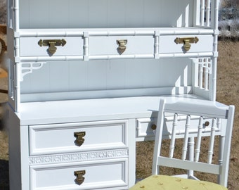 Shangri -La Desk & Hutch By Dixie  white Lacquer Fretwork ,Hollywood Regency Chinosierie
