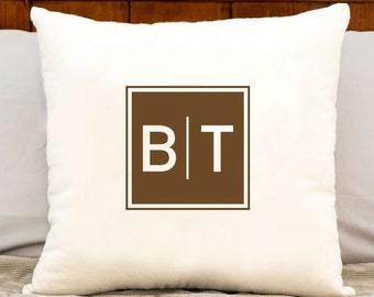 personalized monogrammed cotton pillow - cotton gift - personalized initials in your choice of color - 20 x 20