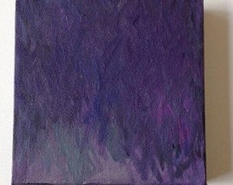 "Abstract, original, blue-violet, painting  - Elements - acrylic on canvas - 6"" x 6"" x 1 1/2"""