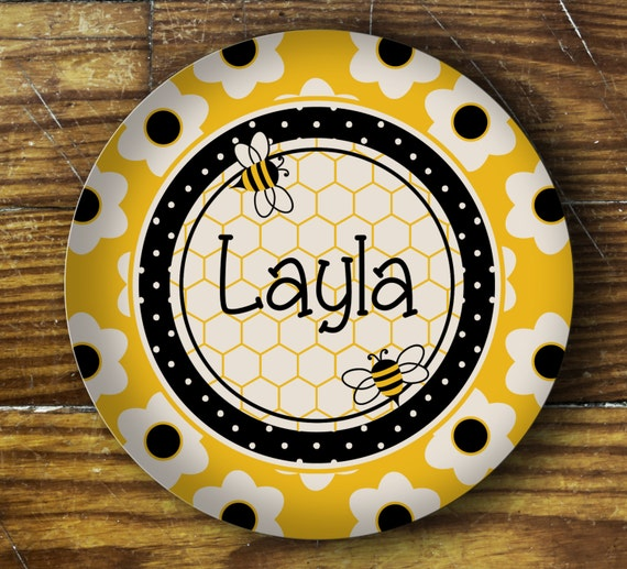 Personalized Dinner Plate or Bowl - Bumblebee