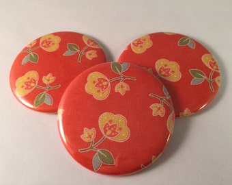 Orange and Yellow Floral Pocket Mirrors