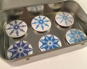 Blue Snowflake Magnet Set