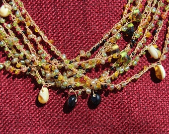 Green bead and crocheted stretch cord multi-strand necklace