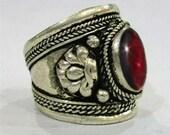 Free S&H - Big Adjustable Vintage Tibetan Silver Natural Oval Garnet Gemstone Dorje Weaving Dotted Amulet Ring, Thumb Ring