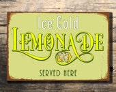 Lemonade Sign Vintage style Aluminum Composite Metal Lemonade Sign, Ice Cold Lemonade Served Here door or wall sign WORLDWIDE SHIPPING