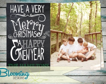 Chalkboard Christmas Holiday Photo Card