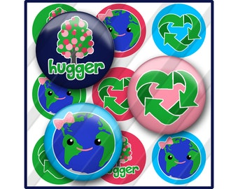 Earth Day Bottle Cap Image Sheet, Recycle, Tree Hugger, Green
