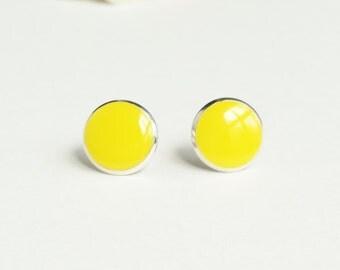Yellow Earrings, Canary Yellow Stud Earrings, Flat Top Stud Earrings, 12 mm Stud Earrings, Simple Yellow Stud Earrings, Resin Jewelry
