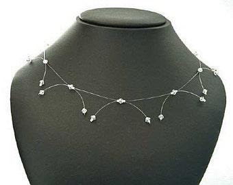 AB Swarovski illusion necklace, dainty Swarovski crystal wedding necklace, clear Sterling Silver bridal necklace, illusion bridal jewellery