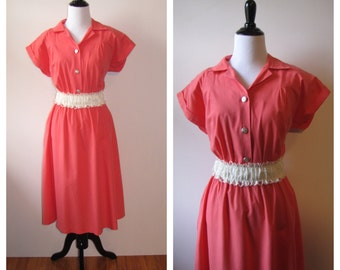Vintage 1980s TropiCool Coral Collared Dress
