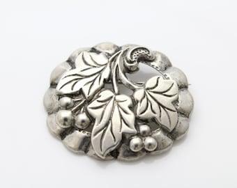 Vintage Sterling Silver Grape Leaf Cluster Brooch Repousse. [241]