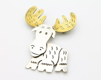 Vintage Sterling Silver Mixed Metals Moose Brooch Large and Chunky. [2242]