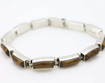"""Chunky Sterling Silver and Tigers Eye Hinged Link Artisan Bracelet Mexico 7"""". [2835]"""