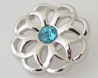 Back in Stock ~ KB8057  Openwork Silver Flower with Aqua Center