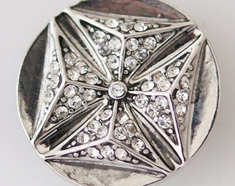 KB5265 Clear Crystal Square set on an Antiqued Silver Round Disk
