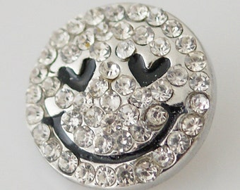 Back in Stock ~ KB8025 Clear Crystal and Black Smiley Face w Hearts for Eyes!