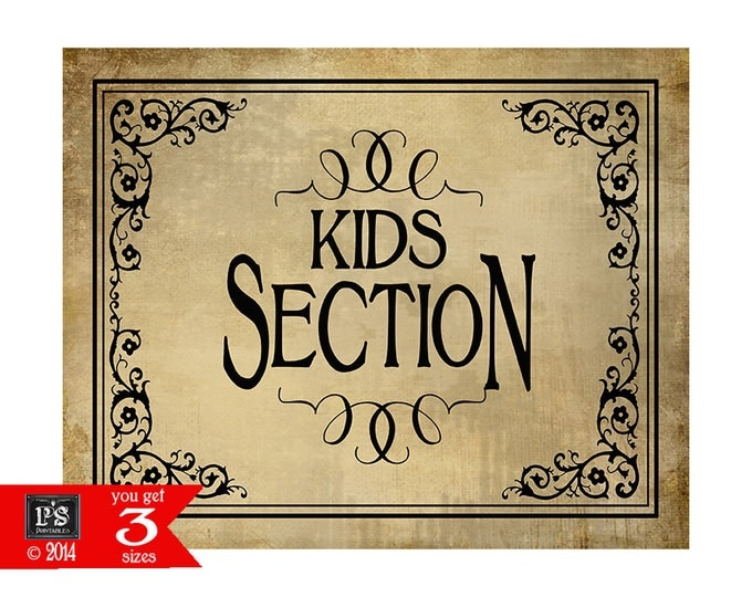 Printable Kids Section Sign - instant download digital file - DIY - Vintage Black Tie Collection