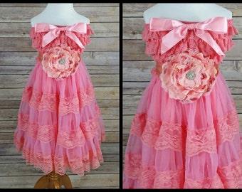Girls Coral Dress // Peach Dress // Strapless Dress // Party Dress With Sash