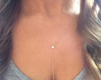14k solid gold lariat necklace drop necklace Y necklace