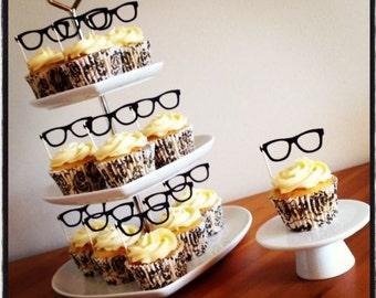 Set of 12 GEEK GLASSES CUPCAKE Flags