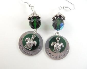 Hand stamped sea turtle Auntie earrings