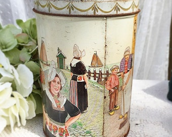 Vintage Dutch Tin, RARE, davelaar jodenkoeken alkmaar, cookie Candy tea confections, storage box, Holland, Netherlands, amsterdam barrel