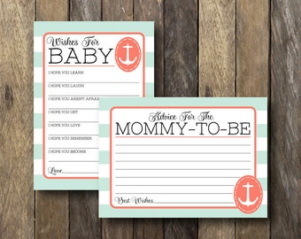 Nautical Baby Shower Printables - Anchor Baby Shower - Nautical Advice Cards - Wishes for Baby Printable - Mint and Coral Baby Shower