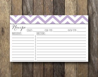 3x5 Printable Recipe Card - Instant Download - Chevron Recipe Cards - Recipe Card Printable - Purple Recipe Cards - Purple Bridal Shower