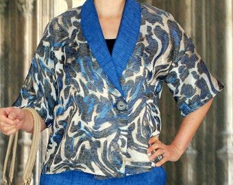 Blusenjacke in blue from mix fabric. size US 14-18