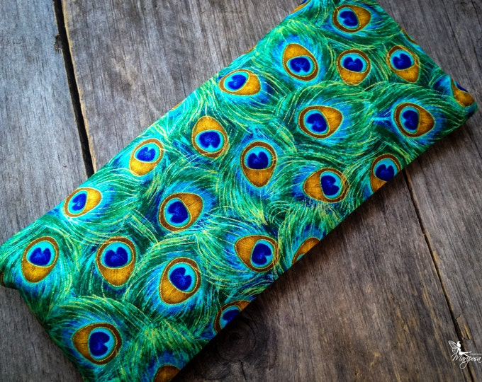 Yoga eye pillow savasana Peacock meditation relaxation aromatherapy tool Lavender or Camomile handmade by Creations Mariposa RY-P