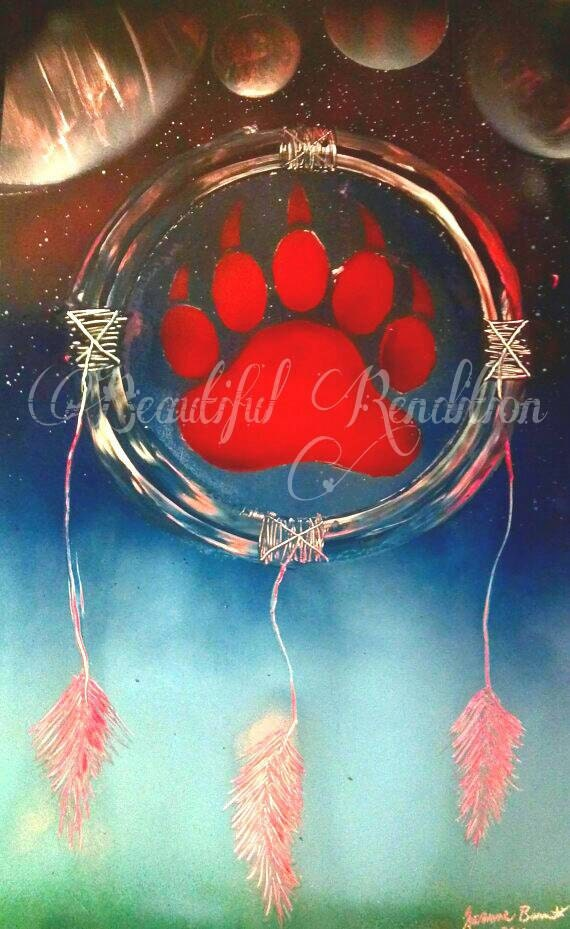 Bear paw dreamcatcher spray paint art space painting gift idea for Dream catcher spray painting