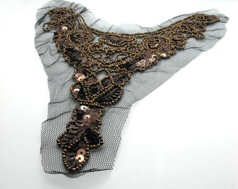 11 Inches Brown Beaded Collar|Neck Applique|Patch|Embroidered Collar|Beaded Necklace|Sequins and Beads|Handsewn|Clothing Embellishment