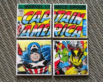 Captain America Coasters, Comic book super hero Ceramic drinks coaster set