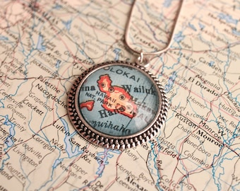 Customised Map Pendant Necklace, Custom map jewellery Map Lover Gift