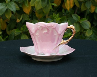 Vintage Victorian Pink and White Raised Pattern Demitasse Cup and Saucer