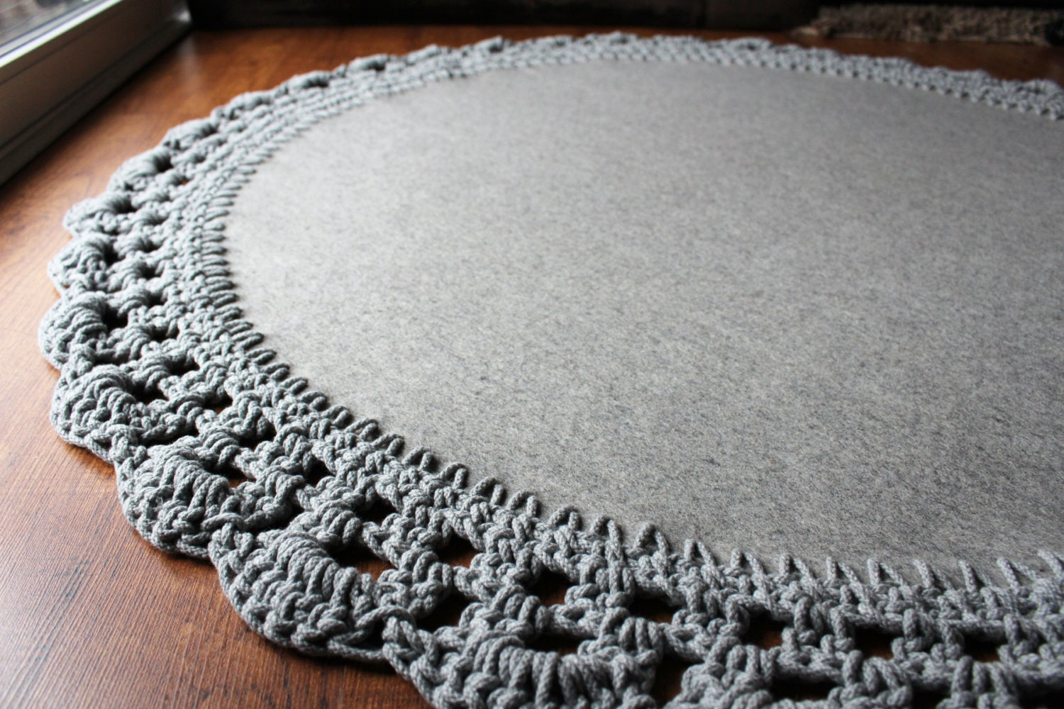 Crochet Round Rug : Large Round Wool Rug with Crocheted Cotton by BlackbirdFlyCompany