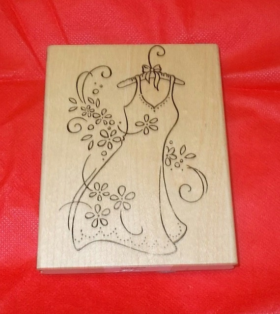 Stampendous ladies fashion dress rubber stamp bridal shower for Wedding dress rubber stamp