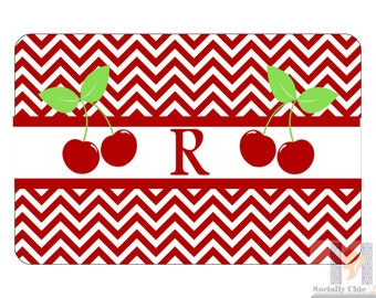 Cherry Chevron Monogrammed Serving Tray. A unique and stylish hostess or birthday gift! Custom colors available! Entertain with style!
